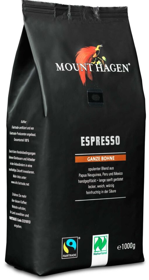 Mount Hagen Espresso Bio 1kg ganze Bohne